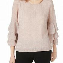 Alfani Womens Blouse Blush Pink Size Small S Layered Metallic Pullover 67 171 Photo