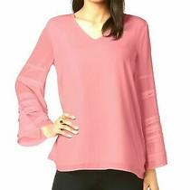 Alfani Womens Dusty Blush Pink Tiered Bellsleeve Vneck Top Size Petite Small Nwt Photo
