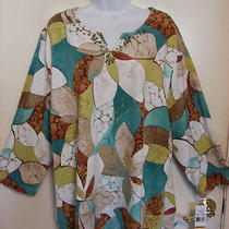 Alfred Dunner Ipanema 3/4-Sleeve Stained Glass Floral Top    Size 3x Plus   Nwt  Photo