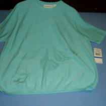 Alfred Dunner Misses Size Xl Sweater Walking on Sunshine Aqua Nwt Photo