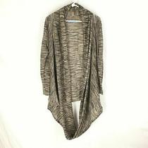 Alice and Olivia Cardigan Sweater Brown Tan White Drape Open Front Shawl Small Photo