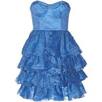Alice and Olivia Easton Dress Nwt Tiered Lace Blue Strapless Bustier Sz 6 698 Photo