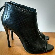 Alice and Olivia Gerri Hh Perforated Black Leather Opentoe Bootie New Size 40 Photo
