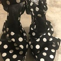 Alice and Olivia Polka Dot Heels Wedge Sandals Shoes Black and White Size 39 1/2 Photo