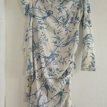 Alice by Temperley Asymmetric Off Shoulder Dress White / Blue  Bird Print Uk14 Photo