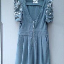 Alice by Temperley Dress 12 Duck Egg Blue Jewelled Short Sleeves Front Zip and P Photo