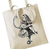 Alice in Wonderland Flamingo Tote Bag / Shopping Bag Natural With Long Handles Photo