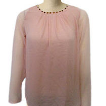 Alice Moon by Moon Collection Blouse Nwt Blush Pink Grommet Neckline Evening M Photo