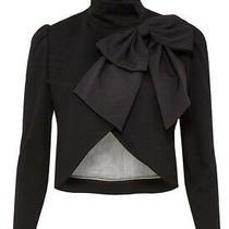 Alice  Olivia Addison Black Bow Collar Crop Jacket 398 Sz Xs 0 2 Photo