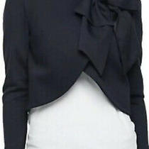 Alice  Olivia Addison Bow Crop Jacket Navy Blazer  Size Xs Bnwt Photo