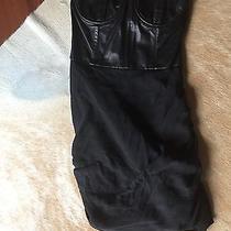 Alice  Olivia Annie Black Leather Dress Corset Strapless Size 0 495 Photo