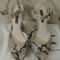 Alice Olivia Black and White Snake Skin Wedge Sandals Photo