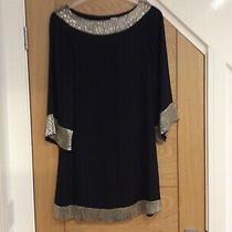Alice  Olivia Black Silk Mini Dress Xs Flared 3/4 Sleeves Gold Beading Preowned Photo