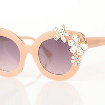 Aliceolivia Madison Floral Blush Pink Crystal Cat Eye Frame Sunglasses New 525 Photo