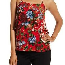 Alice  Olivia Marybeth Layer Ruffle Halter Top Straps Red Floral Birds Silk L Photo