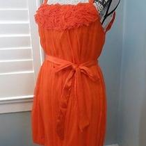 Alice  Olivia Medium Dress 100% Silk Orange Belted Bubble Hem Photo