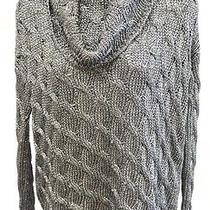 Alice  Olivia Metallic Silver Cable Knit Turtleneck Size Small Photo