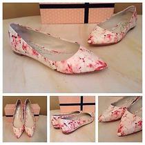 Alice  Olivia Nwb Hudson Watercolor Cherry Blossom Flats Shoes 8.5 39 240 Photo