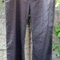 Alice Oliviapin-Striped Chocolate Woolblendwide Waistbandflare Leg Pants Sz 8 Photo