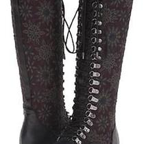 Alice  Olivia Terra Leather & Jacquard Lace Up Knee High Boots Sz 8 Retail 695 Photo