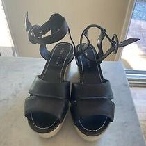 Alice Olivia Wedged Sandals Woven Platform 7 Black  Photo