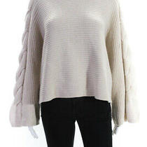 Alice  Olivia Womens Solid Chunky Knit Hoodie Pullover Sweater Beige Size L Photo