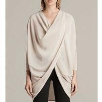 All Saints M Itat Wrap Cardigan Silk Merino Wool Blush Pink Quartz Retails 230 Photo