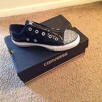 All Star Converse Sneakers Black Custom Bling Swarovski Crystal Classic Low Top Photo