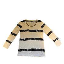 Allen B by Allen Schwartz Off White Black Shirt Womens Size Xs Gold Neck Chain Photo