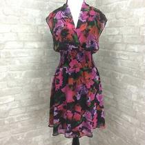Allen B Dress 6 Black Pink Floral Faux Wrap Smocked Waist Pleated Collar Photo