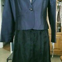 Allen by a.b.s.  Womens Suit Skirt & Blazer Jacket Size 16 Navy Dressy Nwt Photo