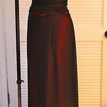 Allen Schwartz Crepe Mesh Prom Formal Long Dress Sz 12 Burgundy Polyester-Satin Photo