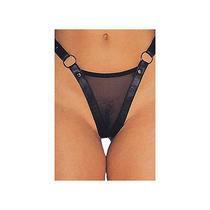 Allure Leather Leather and Mesh G-String by Allure 2-201 Black Leather One Size Photo