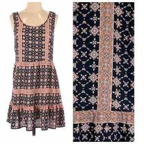 Altard State Navy Blush Pink Geo Print Patchwork Boho Dress  Small Sleeveless Photo