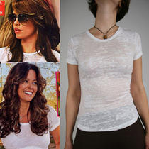 Alternative Apparel Women's White Burnout Tee S Photo