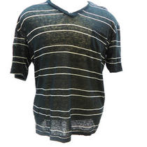 Alternative Men's Short Sleeve Striped v-Neck T-Shirt Ei79 Black &white Size M Photo