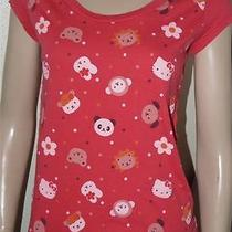 Alternative Rock Sanrio Doe Hello Kitty Cat Red Character Casual Shirt M Photo