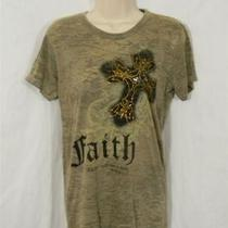 Alternative Vintage Soft Tee - Army Green W Gold Colored Embellished Cross Xl Jr Photo