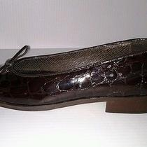 Amalfi Ballet Style Flat Croc Patent Print Brown Womens Sz 7 2a Aa Narrow Photo