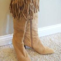 Amanda Smith Christie Brown Suede Fringe Knee Boots Heels Shoes Size 8  Closet Photo