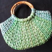 Amanda Smith Green Blue Aqua Ombre Bamboo Handle Purse Handbag Hobo Satchel Bag Photo
