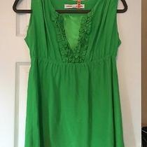 Amanda Uprichard Top Blouse 100% Silk Ruffle Babydoll Green Sleeveless Small Photo