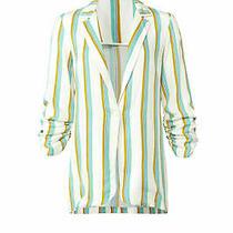 Amanda Uprichard Women Jacket White Size Small S Stripe Ruched Sleeve 225- 041 Photo