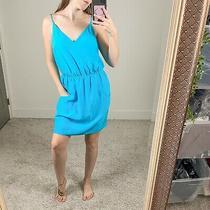 Amanda Uprichard Womens Sz M Easy Pocket Silk Mini Dress Blue Sleeveless  Photo