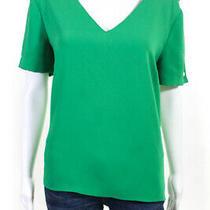 Amanda Uprichard Womens Julep Melissa v Neck Blouse Green Size Large 11199868 Photo