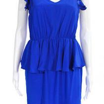 Amanda Uprichard Womens Silk Ruffle Sleeveless Sheath Dress Blue Size M Photo