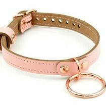 Amare Blush Pink and Rose Gold Leather Large Ring Day Collar Col39lrngbpnk Photo