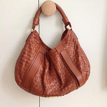 Amazing Burberry Woven Malika Hobo Shoulderbag in Tan Leather Xl L 1995 Photo