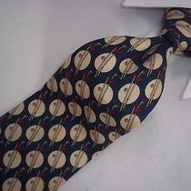 Amazing Lanvin Paris Golf Club Print Blue Silk Tie 58