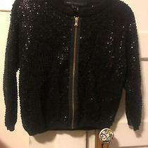 Amazing Marc by Marc Jacobs Complete Bead & Sequin Knit Zipper Black Sweater S Photo